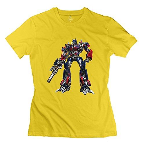 Women Transformers Optimus Prime Custom Causal Yellow Tee