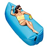 BONPIE Inflatable Lounger, Portable Air Sofa Hammock, Lightweight Inflatable Couch for Travelling, Camping, Picnics, Backyard BBQ, Indoor or Outdoor Usage, Beach & Festival(Blue)