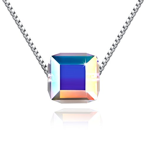 ❤ S925 Sterling Silver Necklace ❤ Aurora Crystals from Swarovski - Cubic Pendant Necklace for Women - Allergy...