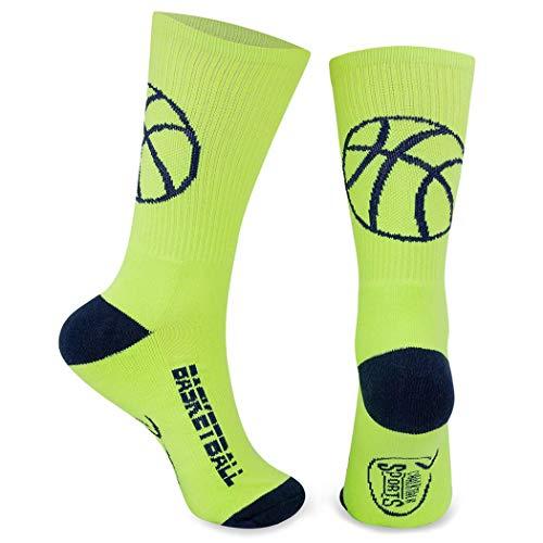 Athletic Half Cushioned Crew Socks | Basketball Silhouette Design | Neon/Navy