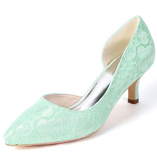 De Green Primavera Fy160 Nupcial Seda Plataforma Mujer Altos L 6cm Zapatos Tacones Boda Fornido yc Encaje FqxSUR1