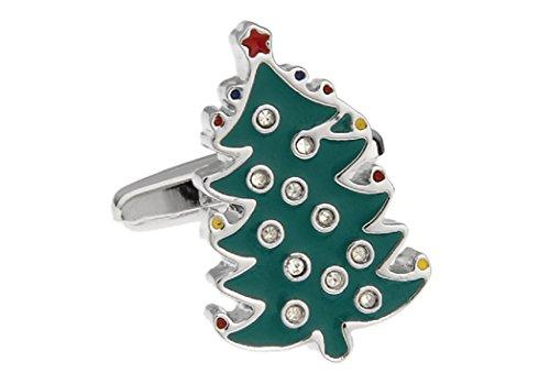 Christmas Tree Cufflinks - MRCUFF Christmas Tree with Star & Crystals Presentation Gift Box Pair Cufflinks & Polishing Cloth