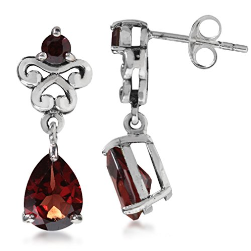 3.02ct. Natural Garnet 925 Sterling Silver Victorian Style Dangle Post Earrings