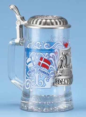 Scandinavia Finland Denmark Sweden Norway Glass Beer Stein w/ Pewter Viking Ship, Viking Helmet, German Collectible Beer Stein