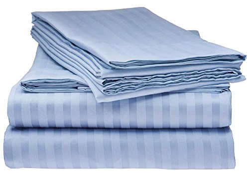 ITALIAN Collection 4PC QUEEN Sheet Set, Striped Light BLUE