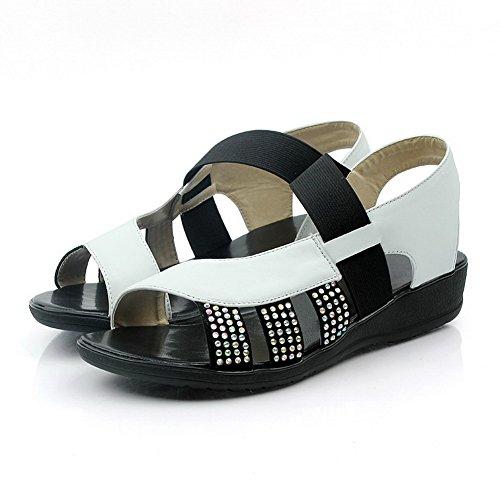AmoonyFashion Womens Soft Material Open-Toe Low-heels Elastic Solid Sandals White KJnFQ799