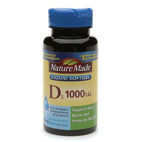Nature Made Vitamin D3 1000 IU Supplement Liquid Softgels, 100 count, (Pack of, 2)