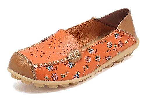 (VenusCelia Women's Floral Comfort Walking Flat Loafer(9 M US,Orange-h))