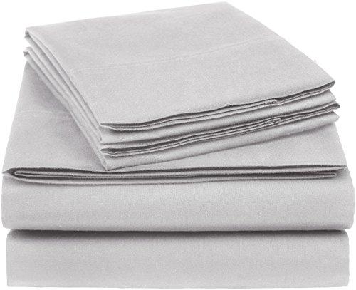 (AmazonBasics Essential Cotton Blend Sheet Set -Queen, Light Grey)