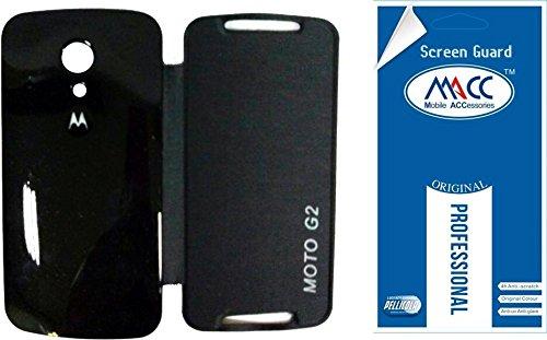 competitive price 7f946 1fe9c MACC Flip Cover Case For Motorola Moto G2 / MotoG2 XT1068 (2nd Gen) - Black  + MACC Clear Screen Guard