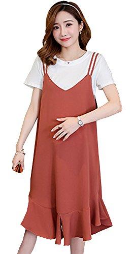 思春期の混沌石妊婦のワンピースの妊婦は夏服の中で長金の純綿の短い袖の上着のスカートのスカートの夏のファッションの2点セット (キャラメルの色, XXL)