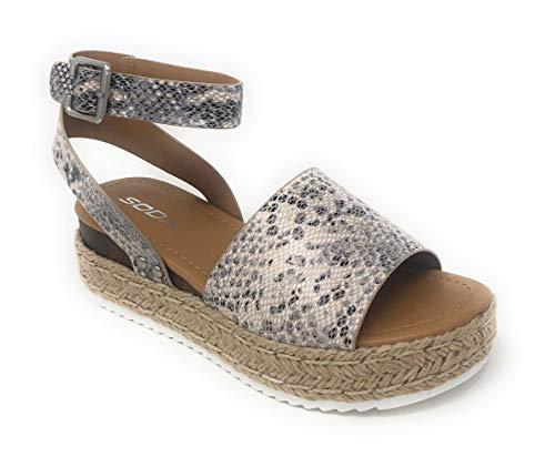 SODA Topic Topshoe Avenue Women's Open Toe Ankle Strap Espadrille Sandal