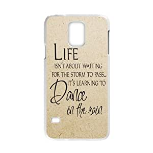 Life Is About Learning How to Dancing in the Rain for white plastic Samsung Galaxy S5 case