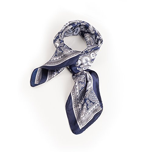 SCF045-Navy Paisley Print Neck tie - Silk Paisley Scarve