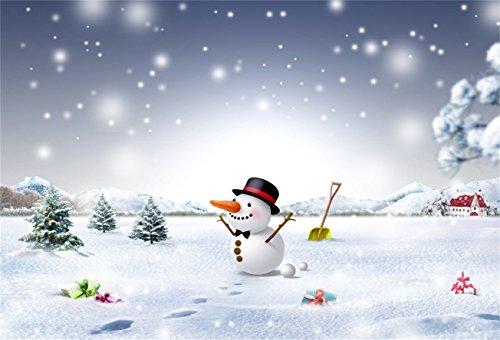 AOFOTO 7x5ft Snowman Backdrop Xmas Tree Snowflake Photo Shoot Background Snowfield Christmas Gift Outdoor Photography Studio Props Girl Child Baby Artistic Portrait Digital Video Drop Vinyl Wallpaper (Studio Photo Christmas Shoot)
