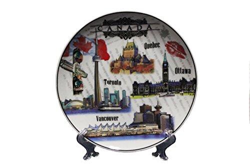 CANADA , QUEBEC , OTTAWA , TORONTO , VANCOUVER - VIEWS Ceramic BIG Souvenir PLATE With Stand ..Size : 8