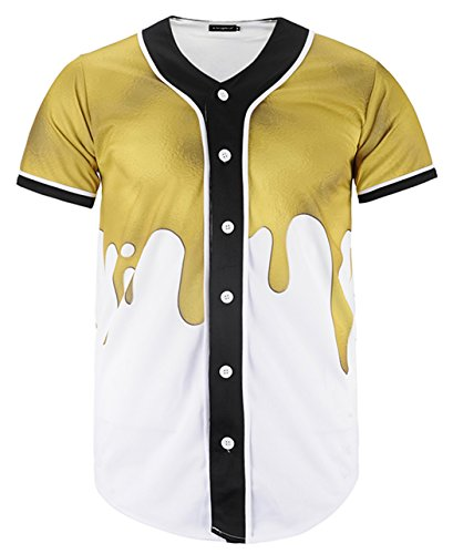 HOP FASHION Youth Unisex Boy Girl Baseball Jersey Short Sleeve 3D Gold Splatter Print Dance Team Uniform Tops Shirt HOPM007-25-S - Gold 3d Baseball
