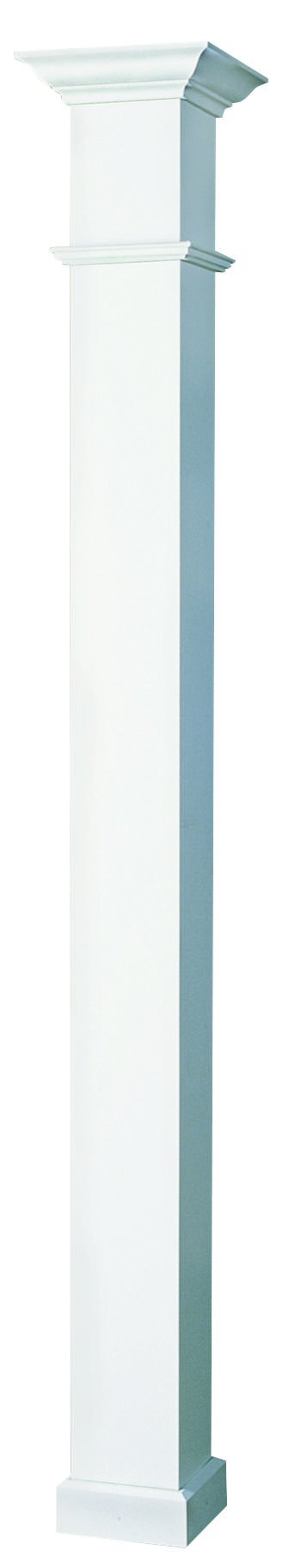 AFCO EA0808ENPSEWEWE 8'' x 8' Endura-Aluminum Wellington Style Column, Square Shaft (Load-Bearing 20,000 lbs), Non-Tapered, Gloss White Finish w/ Capital & Base by Afco