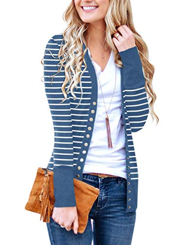 PAPOSON Women's Button Down Front Long Sleeve Striped Cardigan V-Neck Casual Sweaters Knitwear (Dark Blue Stripe,S) ()