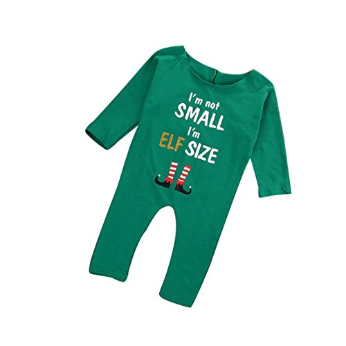 I'm Not SMALL I'm ELF Size Christmas Baby Girls Off shoulder Long Sleeve Romper Jumpsuit Outfits (6-12M) (Elf Suit For Baby)