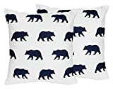 Sweet JoJo Designs 2-Piece Navy Blue and White Decorative Accent Throw Pillows for Big Bear Collection by