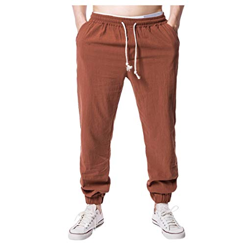 YAYUMI Summer Men's Fashion Casual Pants Wide Leg Pants Cotton Hemp Solid Color Casual Trousers Coffee