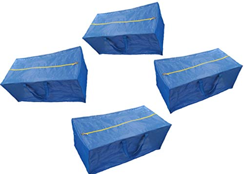 Super 4 Pack Zippered Storage Bags, Extra Large - Blue - Compatible with IKEA Fratka Storage Bag Trolley by CherryPic Junction