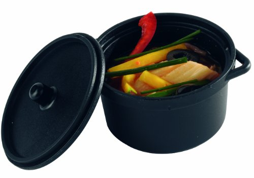 Solia PS30390 Polypropylene Mini Cooking Pot with Lid, 3-Ounce Capacity, 2-51/64'' Diameter x 2'' Height, Black (Case of 300) by Solia