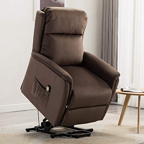BONZY HOME Power Lift Recliner Chair Lift Chair for Elderly with Overstuffed Soft Fabric Lumbar Support Remote Control Gentle Motor 3 Position Side Pocket Home Theater Seating (Chocolate)