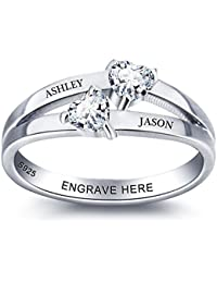 b8857ae799 Promise Rings for Her Engagement Rings for Women Personalized 2 Simulated  Birthstone Womens Wedding Bands Rings