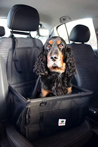 renkii Hunde Autositz kleine mittlere Hunde Welpen Hundesitz Beifahrersitz und Rückbank schwarz stabil wasserdicht Vlies grau waschbar Sitzunterlage Hund Einzelsitz