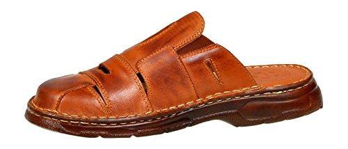 Schuhe Modell Sandalen Herren Echtem Einlage Aus mit Bequeme 863 Buffelleder Hausschuhe der Kognak Orthopadischen Lukpol xFt7wnw