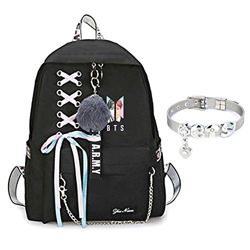 Price comparison product image Youyouchard BTS Backpack for Women Girls for Laptop Hiking Travel with A BTS Bracelet (Z: JJUNGKOOK)