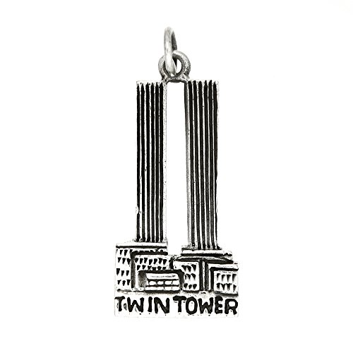 Sterling Silver Oxidized One Sided Twin Towers Charm