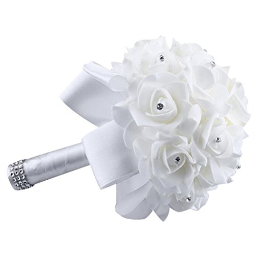 - Wedding Bouquet, WensLTD Crystal Roses Pearl Bridesmaid Wedding Bouquet Bridal Artificial Silk Flowers (White)