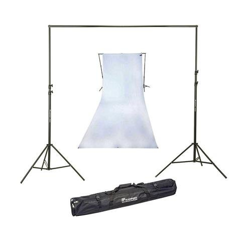 (Westcott 9x20 Feet Wrinkle Resistant Cotton Background, High-Key White - Bundle with Flashpoint 10' Background Support System)