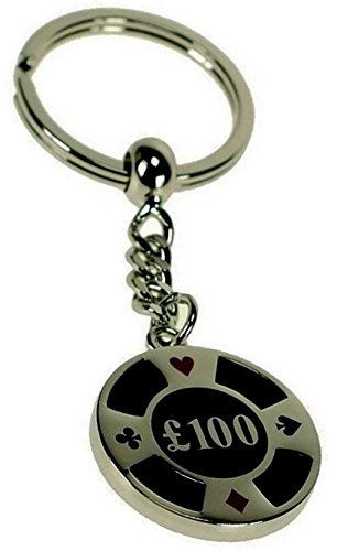 """Unique & Custom 1 Single Medium Size """"Split"""" Circle Keychain Ring & Lobster Clasp Made of Silver Plated Brass w/ Bling Obsidian Poker Chip Charm Made of Metal {Silver & - Brass Plated Keychain"""