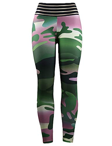 (Hioinieiy Womens Camo Scrunch Ruched Butt Lifting Leggings High Waisted Camouflage Printed Workout Sport Gym Booty Yoga Pants for Women Green S)