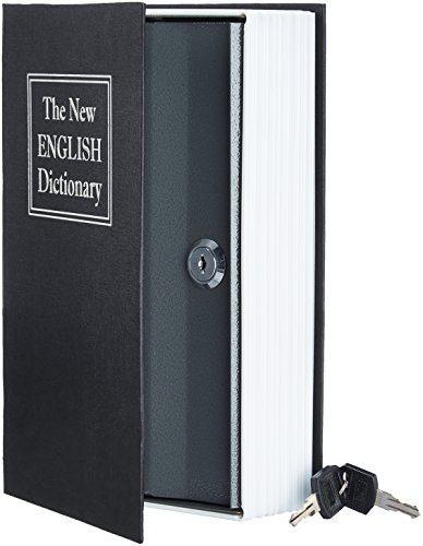 AmazonBasics Book Safe, Key Lock, Black (Best Way To Hide Money While Traveling)