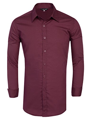 Cotton Men Shirt Long Sleeve Designer Formal Wine (L) JS01-5