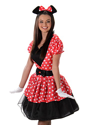 Miss Mouse Costume Set - Halloween Womens Red White Polka Dot Dress, -