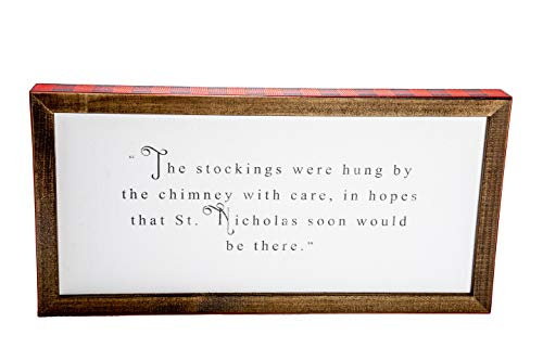 ReLive - The Stockings were Hung Christmas Poem Wooden Box Sign with Buffalo Plaid Trim- Inspirational Home Christmas Decor