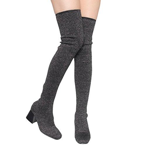 Beston Ek37 Kvinna Stretchigt Passform Sock Stickning Dra På Låret Höjd Boot Svart