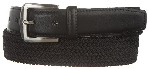 Mens Stretch Leather (Strait City Trading Co Men's Hybrid Leather Stretch Belt with Nickel Buckle 34