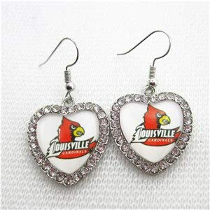 Gimax 10pcs/lot Crystal Heart Louisville Cardinals Necklace Jewelry with 50cm Chains US Sports Necklace Jewelry University Charms - (Metal Color: Earrings, Length: 45cm)