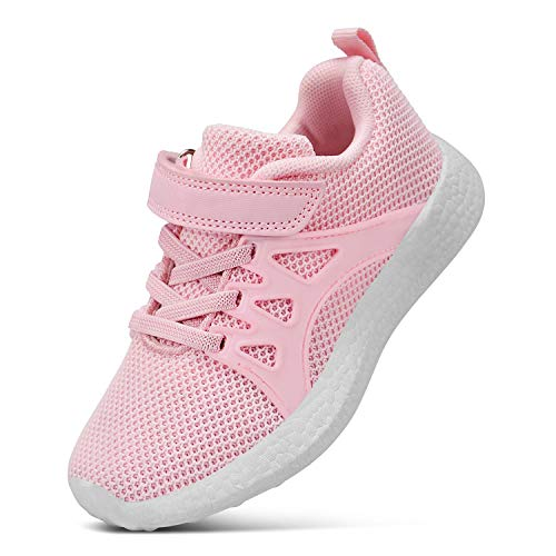 SouthBrothers Girls Sneakers Comfortable Walking Running Tennis Sneakers Pink Size 2 Little Kid