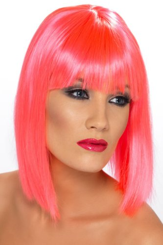 Smiffy's Women's Glam Short Blunt Wig, Pink, One Size