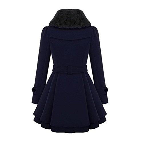 Warm XL Vovotrade® Belt Elegant Sleeve Parka Coat Blue Winter Ladies With Long Dark Women Blue jacket Dark Slim Thick Outwear BZ6Zxtq
