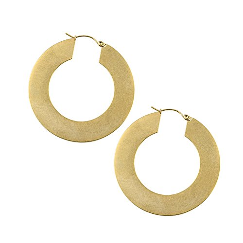 (18K Gold Plated Stainless Steel Huggie Hoops Brushed Flat Big Large Round Hoop Earrings for Women (Gold))