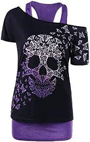 Long Sleeve T Shirt Women Graphic Tees for Teen Girls Juniors Cute Tops Sunflower Skull Print Funny Casual Blo
